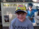 Caleb at the Rhino exhibit. He thinks they are cool.