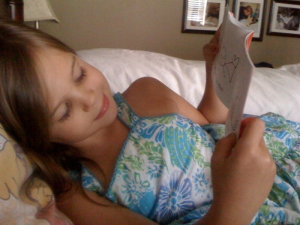 Katey reading her first book.