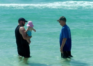 (Ella and Pop and I wading in the water. Doesn't Pop look great!!! What a miracle man)